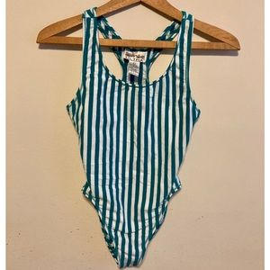 Vintage 80s bodysuit teal and white striped large
